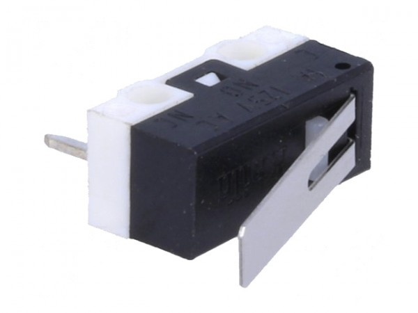 Mikroschalter mit Hebel, Printmontage, 1A/250VAC, ON-(ON), 1-stellig
