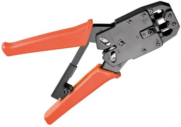 Crimpzange für Modularstecker (RJ 10/11/12/45) mit Kabelschneider und Abisolierer, oran