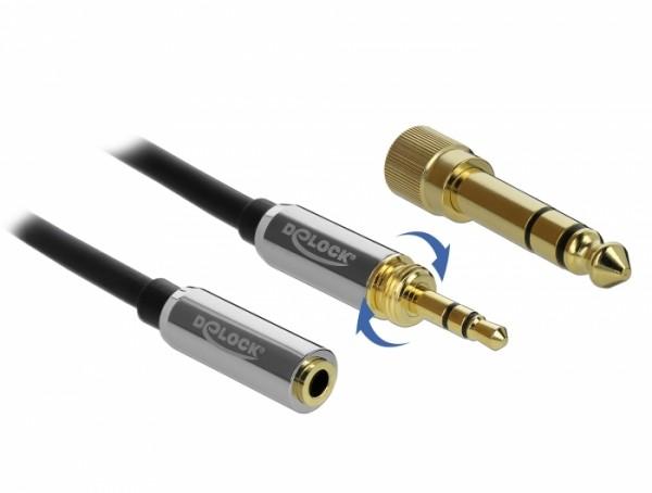 Klinkenverlängerung, 3,5mm 3 Pin Stecker – Buchse mit 6,35mm Schraubadapter