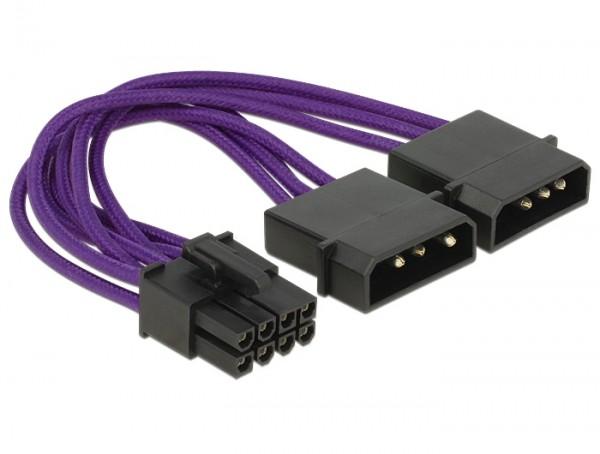 Stromkabel PCI Express 8 Pin Stecker > 2 x 4 Pin Stecker Textilummantelung violett