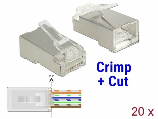 CAT 6 RJ45 Crimp+Cut Stecker STP, 20 Stück