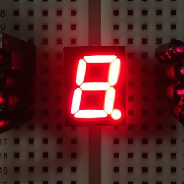 7-Segment-Anzeige, 10mm, gemeinsame Anode, 40mcd, rot