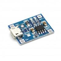 Ladeplatine für 3,7V LiIon / LiPo Akkus, Micro USB > Lötpads, 1000mA