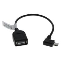 USB 2.0 Hi-Speed OTG Adapterkabel, A-Buchse - Micro B-Stecker 90° gewinkelt 0,15m schwarz