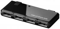 aktiver 4 Port USB 2.0 Hub inkl. 2A Netzteil schwarz mit 0,4m Anschlusskabel