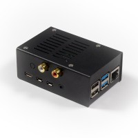 Stahl Gehäuse für HiFiBerry DAC+ ADC und Raspberry Pi 4 - schwarz