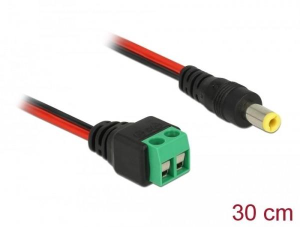 DC Kabel, 2 Pin Terminalblock – Hohlstecker 5,5 x 2,5 mm gerade