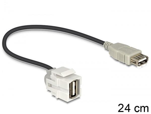 Keystone USB2.0 A Buchse > USB2.0 A Buchse 250° mit Kabel