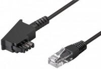TAE-F Anschlusskabel für DSL / VDSL, 6 m, Schwarz - TAE-F-Stecker > RJ45-Stecker (8P2C)