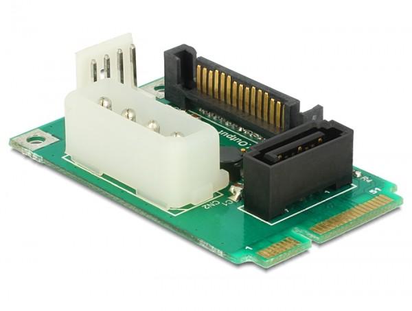 MiniPCIe Konverter mSATA full size - 1 x SATA 7 Pin Buchse + Stromversorgung