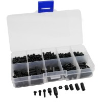 380-teiliges Nylon Abstandshalter Sortiment in Kunststoffbox, M2,5, schwarz