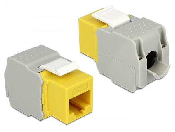 Keystone RJ45 Buchse > LSA werkzeugfrei Cat.6 UTP gelb