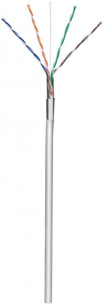 CAT 5e Netzwerkkabel, F/UTP, Grau, 100 m - CCA Kupfergemisch, AWG 24/1 (solid), PVC