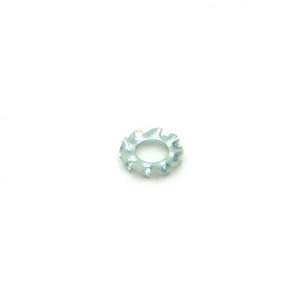 Unterlegscheibe mit Außenverzahnung, Metall, M2,5; D5,5mm; H0,4mm
