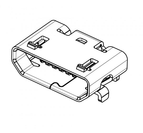 Micro USB Typ B Buchse, SMD, THT Montage, ohne Kragen