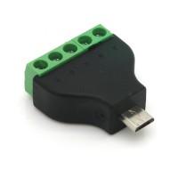 Adapter, 5 Pin Terminalblock - Micro USB 2.0 Typ B Stecker