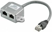CAT 5e T-Adapter (Port-Doppler), 1x RJ45 Stecker - 2x RJ45 Buchse (2x ISDN)
