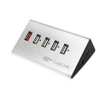 LogiLink USB 2.0 Hub, 4-Port + 1x Schnellladeport, Aluminium, inkl. Netzteil