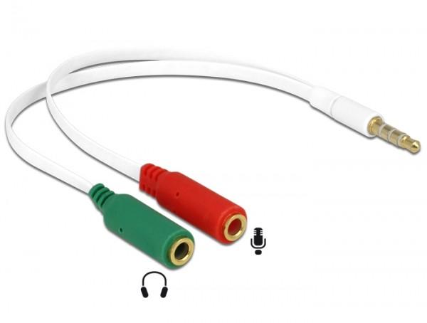 Headset Adapterkabel 4 poliger 3,5mm Klinkenstecker - 2x 3,5mm Klinkenbuchse weiß / Flachkabel