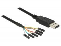 Adapterkabel USB - Seriell-TTL 6 Pin Pinheader Buchse einzeln (5V) 1,80m
