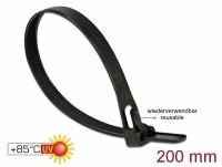 Kabelbinder wiederverwendbar hitzebeständig L 200 x B 7,5 mm 100 Stück schwarz