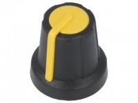 Drehknopf für gerändelte 6,0mm Achse, mit Anzeige, 16x16mm, schwarz/gelb
