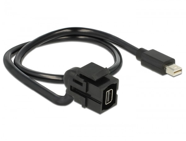 Keystone mini Displayport Buchse > Mini Displayport Stecker 110° mit Kabel