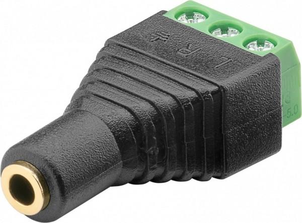 Terminalblock 3-pin > Klinke 3,5 mm Buchse (3-Pin, stereo) - Schraubbefestigung