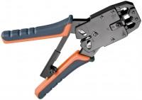 Crimpzange für Modularstecker (RJ 10/11/12/45) mit Kabelschneider und Abisolierer, blau/orange