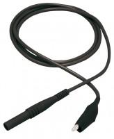 Messleitung, 4mm Sicherheitsstecker - Krokodilklemme, 100cm, schwarz