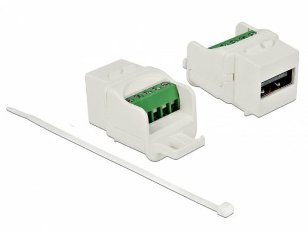 Keystone Modul USB 2.0 A Buchse - Terminalblock, weiß