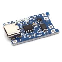Ladeplatine für 3,7V LiIon / LiPo Akkus, mit Ausgang, USB Type C Buchse > Lötpads, 1000mA