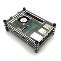 Gehäuse für Raspberry Pi 3B+, 3B, 2B mit Lüfter, stackable, transparent/schwarz