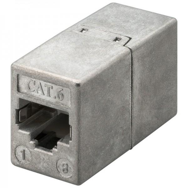 CAT 6 Modularkupplung, 2 x RJ45-Buchse, geschirmt, Druckgussgehäuse