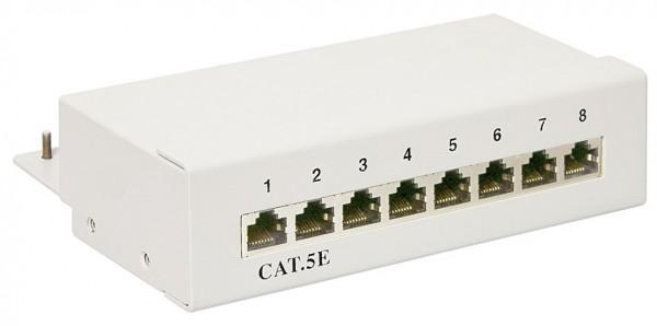 CAT 5e Mini Desktop Patchpanel, 8 Port, STP geschirmt, Grau