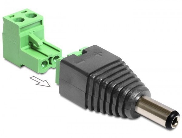 Adapter DC 2,1 x 5,5 mm Stecker - Terminalblock 2 Pin 2-teilig
