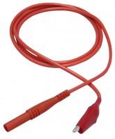 Messleitung, 4mm Sicherheitsstecker - Krokodilklemme, 100cm, rot