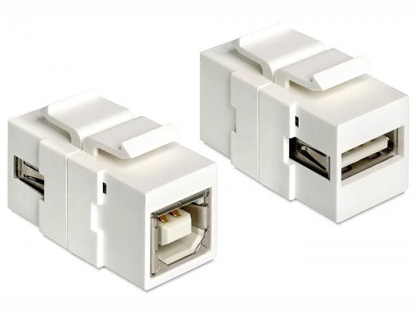 Keystone USB2.0 A Buchse > USB2.0 B Buchse weiß