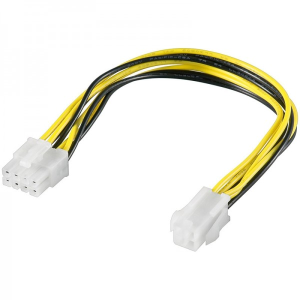 Power Kabel 8 Pin Stecker - P4 4 pin Buchse 0,24m