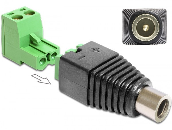Adapter DC 2,5 x 5,5 mm Buchse - Terminalblock 2 Pin 2-teilig