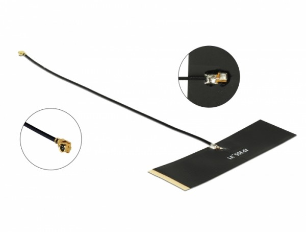 TETRA 430 - 470 MHz Antenne MHF® I Stecker 0 dBi 1.13 15 cm schwarz Klebemontage