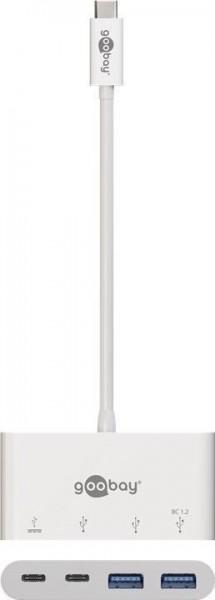 USB-C Multiport Adapter mit 2x USB 3.0, 2x USB-C - Farbe: weiß