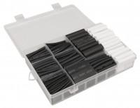Schrumpfschlauch-Set, klebend, 300-teilig in Sortimentsbox, schwarz/weiß